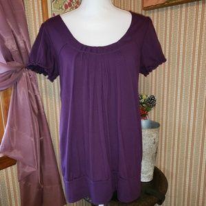 Purple pleated blouson top